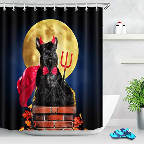 Teufel Hunde Kostüm - Nyngei Wasserdichter Duschvorhang Set Schwarzer Hund im Teufel Halloween Kostüm Big Moon 183X183CM