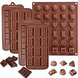 Lot de 5 moules à chocolat - En silicone - Anti-adhésifs - Pour tablettes de chocolats, barre énergétiques et protéinées, glaçons, bonbons - Pour la cuisine et la pâtisserie