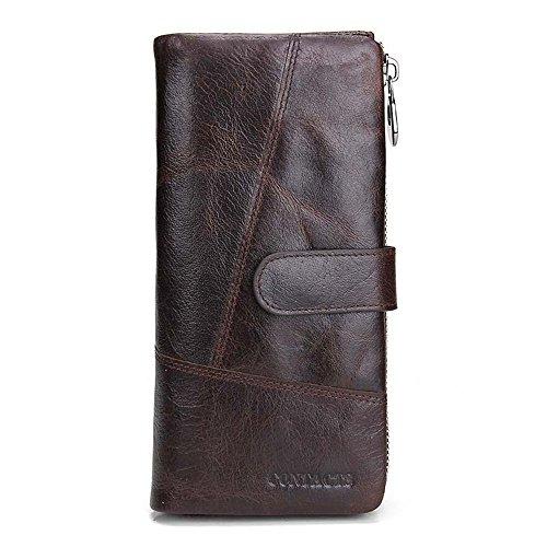 Herrenbrieftasche aus Leder Herren Leder Geldbörse Herren Geldbörse Herren Aktentasche Umschläge Handgelenk Taschen Business Casual Clutch Bag Herren Business Casual Geldbörse (Color : Coffee)