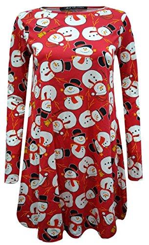 Femme Dame Longues Manches Manchot Bonnet Père Noël Bonhomme De Neige Imprimé Noël Robe Évasée Plus Haut De Taille 8-26 red snow man