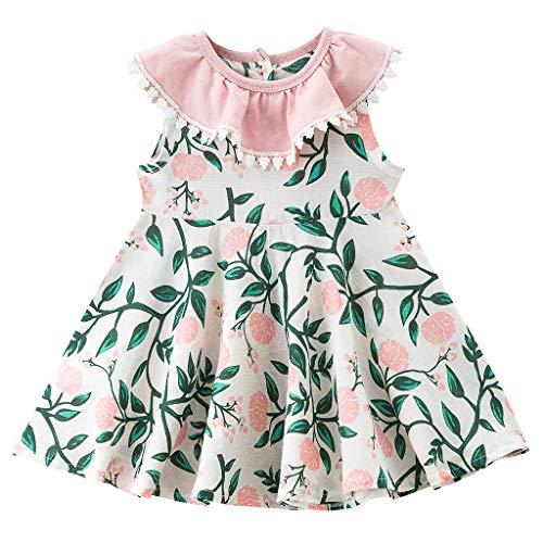INLLADDY Kleider Neugeborenen Mädchen Floral Kleid Baby Mädchen Floral Prinzessin Kleid Set Outfits 0-3 Jahre Rosa  0-6 Monate Fashion Rosa Kleid Set