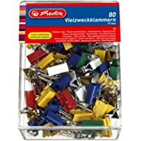 Herlitz 10411148 - Caja de pinzas pala abatibles (80 unidades, 19 mm)