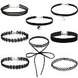 Tinksky 8 stücke Samt Kragen Halsband Halskette für Mädchen Spitze Choker Quaste Gothic Tattoo Halskette