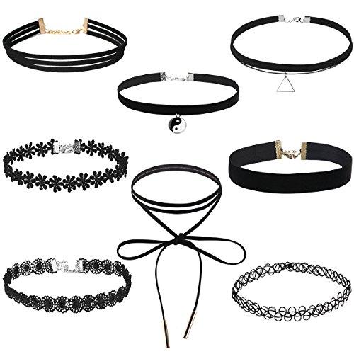 OULII Choker Halsketten Velvet Spitze Halsreifen samt Halsband Choker Halskette für gotische Tattoo Valentinstag Geburtstag Geschenk -Kette Quaste 8 Stück