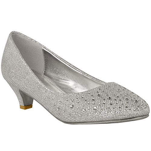 Silver Kitten Heel Shoes: Amazon.co.uk