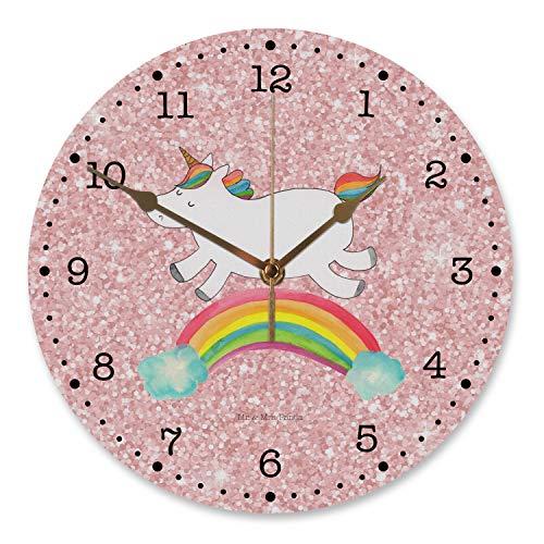 Mr. & Mrs. Panda lautlos, Kinderzimmer, 30 cm Wanduhr Einhorn Regenbogen - Farbe Glitzer Rosa