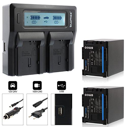 2x Blumax Akku BP-828 2670mAh + Doppelladegerät BP-828 Dual Charger | passend zu diversen Canon Kameramodellen || 2 Akkus gleichzeitig Laden