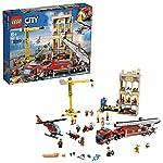 LEGO CityFire MissioneAntincendioinCittà con Autopompa, Gru, Elicottero, Moto e 7 Minifigure, Giocattoli Ispirati ai Pompieri per Bambini, 60216 LEGO
