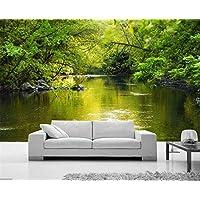 Worryd Hd Print Poster Picture 3D Green Forest Ravine Stream Murales de pared para la sala