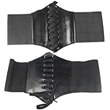 SODIAL(TM) Wide Band Elastic Tied Waspie Corset Waist Belt, Black (accesorio de disfraz)