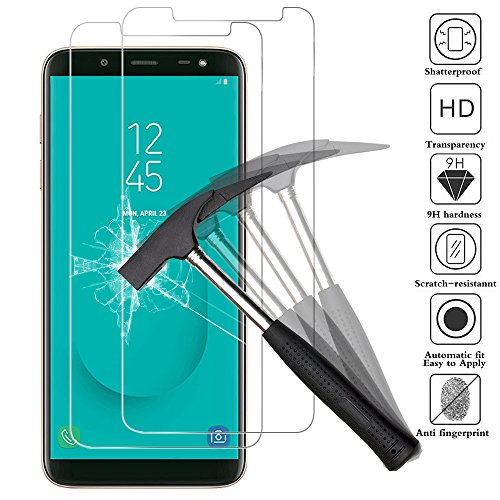 ANEWSIR [2-Pack] Compatible with Samsung J6 Screen Protector (5.6), Screen Protector Suitable for Samsung Galaxy J6 2018, Tempered Glass Anti Scratch 9H Hardness for Samsung Galaxy J6 2018.