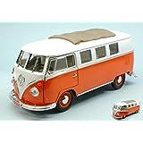 LUCKY DIE CAST YM92327OR VW MICROBUS 1962 ORANGE W/WHITE ROOF 1:18 DIE CAST