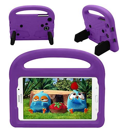 Hülle für Samsung Galaxy Tab E Lite 7.0 Zoll - Stoßfeste Hülle Leichtgewichtige Kinder Hülle Super Protection Cover Griff Ständer Hülle für Kinder für Samsung Galaxy Tab E Lite 7 Zoll Tablet (Violett)