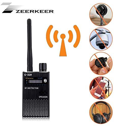 Bug RF-Detector,ZEERKEER Detector Detektor mit sehr hoher Empfindlichkeit, kabelloses Signaldetektor, Anti-Spy Tipps, Ton und Hell Schwarz -