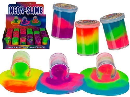 Neon-Schleim Rainbow mehrfarbige Schleimtonnen Scherzartikel Geburtstag-Geschenk-Idee Mitgebsel Mitbringsel Spaß Fun (3er Set)
