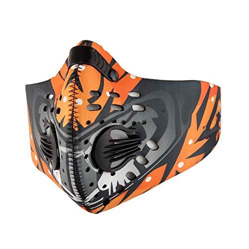 Spandex-rennen (Joylora Anti-Umwelt-Sportmaske Aktivkohle-Luftfilter für maximale Filtration Verstellbarer Riemen und Nasenklemme für Rennen Laufen Skifahren Outdoor-Sport Schützt vor Staub, Abgasen, Smog)