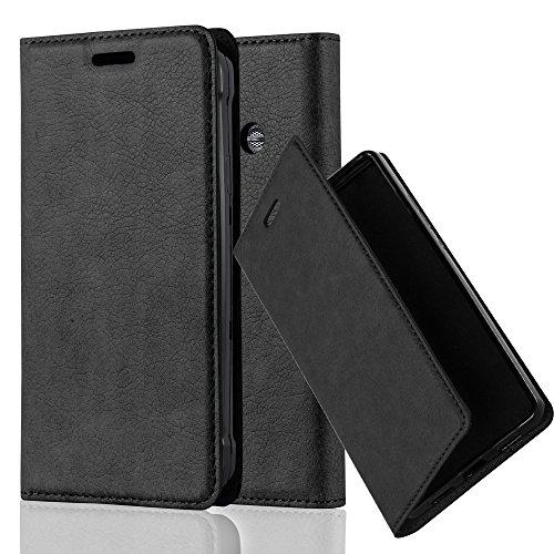 Cadorabo Hülle für Samsung Galaxy XCOVER 3 - Hülle in Nacht SCHWARZ – Handyhülle mit Magnetverschluss, Standfunktion und Kartenfach - Case Cover Schutzhülle Etui Tasche Book Klapp Style
