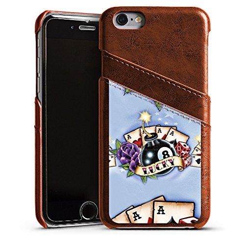 Apple iPhone 4 Housse Étui Silicone Coque Protection Cartes Bonheur Bonheur Étui en cuir marron