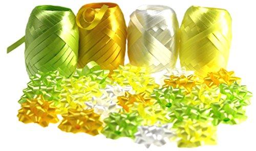 autooptimierer.de Ringelband Schleifen Set 4 Polybänder 24 Mini Geschenk Schleifen Rosetten Selbstklebend Geschenkverpackungs-Set Geschenkband (Gelb)