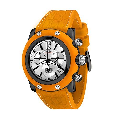Glam Rock Unisex Summer Time 46mm Orange Silicone Band IP Steel Case Swiss Quartz Analog Watch GR30113OOF