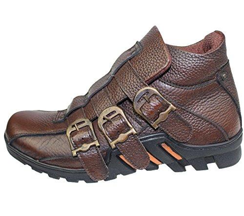 Herren Leder Arbeit Stiefel Schnürschuh High Top Knöchel Wandern Trail Biker Desert Komfort Schuhe b-33 Braun