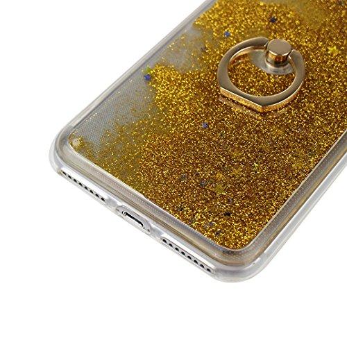 iPhone 7 Plus Hülle mit Ring Halterung Schale 5.5 Zoll, iPhone 7 Plus Tasche Ring, iPhone 7 Plus Flüssig Hülle mit Rotierendem Ring Fingerhalterung Ständer, Moon mood® Bumper Case für Apple iPhone 7 P Muster 5