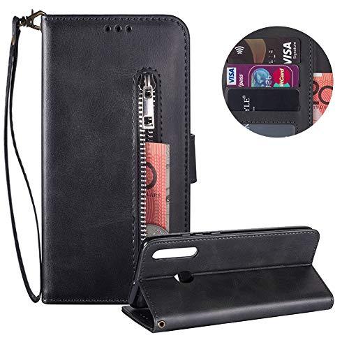 Reißverschluss Brieftasche für Samsung Galaxy A20E,Gurt Wallet Handyhülle für Samsung Galaxy A20E,Moiky Klassisch Schwarz Solide Farbe Klappbar Stand Leder Handytasche -