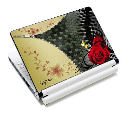 wortek Universal Notebook Folie für Notebooks bis ca. 15,4 Zoll - Reißverschluss Rose Gelb Rot