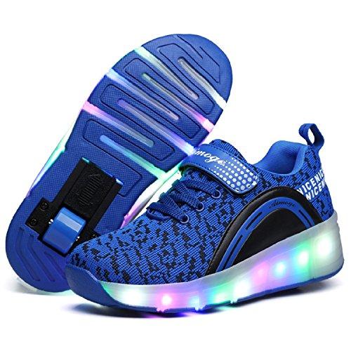 LILY999 Junge Mädchen Mit Rollen Sneaker Led Farbwechsel Schuhe Skateboard Rollschuhe für Unisex-Kinde Blau