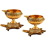 Collectible India Set Of 2 Brass Diya Oil Puja Lamp Engraved Design Dia With Turtle Base For Home Temple Diwali Pooja Articles Decor Gifts (2Pcs)