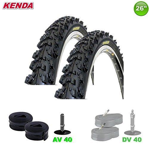 KENDA 2 x MTB Fahrradreifen Decke + 2 Schläuche AV - 26 x 1.95-50-559 (schwarz)