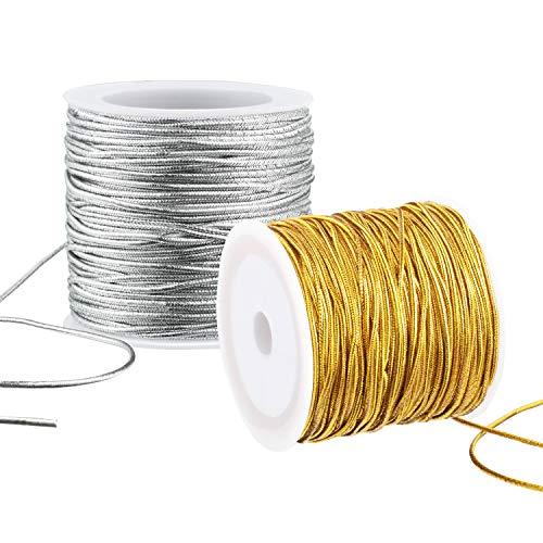 2 Rollen Metallisch Elastisch Schnüre Strecken Schnüre Band Metallisch Lametta Schnur Seil zum Basteln Geschenkverpackung, 1 mm 55 Yards (Gold und Silber)
