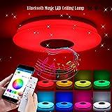 ALLOMN Plafoniera a LED, Bluetooth Musica Lampada da Soffitto Luce Cambiante di Colore RGBW Dimmerabile Telecomando APP, Luminosità Regolabile, Funzione Memoria Temporizzata (36W, 1 PCS)