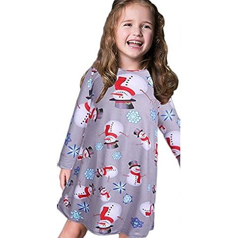 Per 1-10 anni,Amlaiworld Xmas pupazzo vestito dalla stampa per le ragazze (grigio, 6-8 anni)