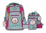Schulrucksack-Set für Schulanfänger - LOOP - von School-Mood - sechs Modelle 2017 (Pink Dots / Hase)