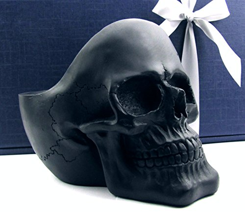 n-Schädel, Skull, originelle Universal-Schale im Geschenk-Set, elegante Geschenk-Box mit Schleifenband, Geschenk für Frauen, Männer, Gothic, Partydeko, Ablage-Snack-Pflanzschale (schwarz matt) (Lustige Kinder-halloween-snacks)