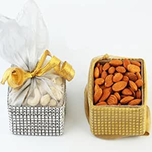 Ghasitaram Gifts Dryfruit Pouches (Multicolour,Square)