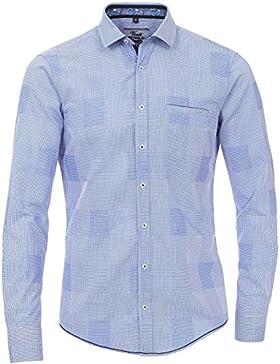 Venti - Herren Freizeit Hemd langarm blau weiss microkaro Slim-Fit (Smart Casual)
