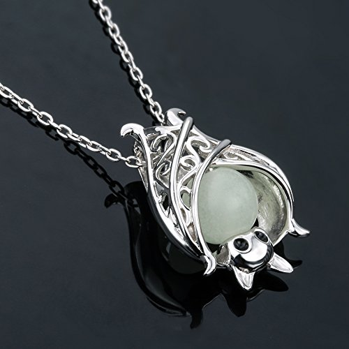 Apotie Christmas 925 Sterling Silver Cute Bat with Luminous Stone Charm Pendant Necklace Jewelry for Women Chain 18 BShgK1Xx