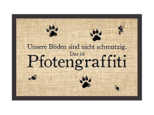 Shabby Fußmatte Türmatte PFOTENGRAFITTI Hund Hundematte Fußabtreter Pfoten