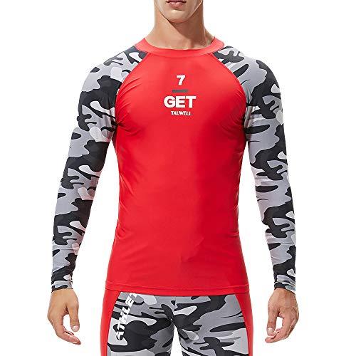 Plot Herren Langarm Bademode, UV-Schutz UPF 50+ Basic Surfen Tauchen Shirt Rash Guard Tops (Schwarz-Tarnung, XL) - Tarnung-fischen-shirt