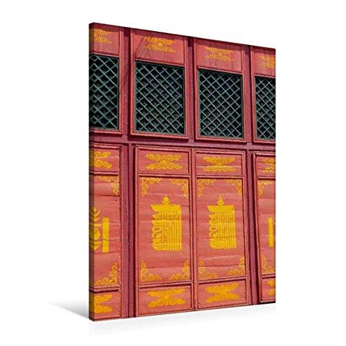 Premium Textil-Leinwand 60 cm x 90 cm hoch, Fenster im Kloster Gandantegchinlen   Wandbild, Bild auf Keilrahmen, Fertigbild auf echter Leinwand, Leinwanddruck: Ulan Bator, Mongolei (CALVENDO Orte)