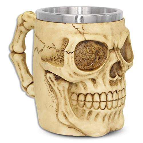 """Jarra XL """"Smiling Skully"""" - calavera cráneo (0,5 l) - Altura 13,5 cm - Decorazione Horror Medieval Fantástico"""