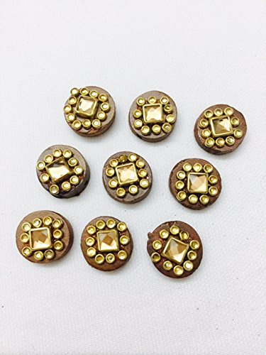 6 Pieces of Wood Colour Wood buttons with beads and stone work...