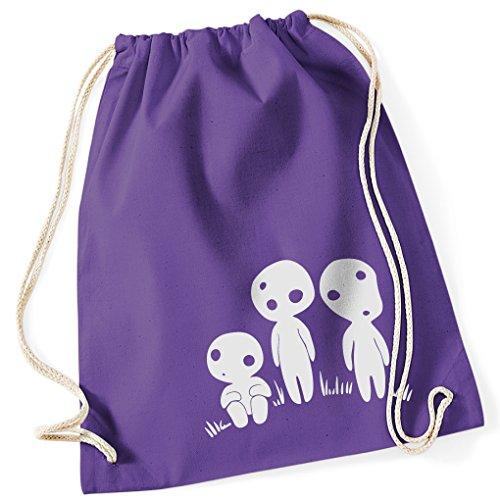 Kodama Geister Mononoke Ghibli Anime / Turnbeutel mit Fun Motiv Aufdruck / Rucksack GYM Jutebeutel / Ideales Geschenk, Farbe:Purple (Film Kostüme Farbe Lila)