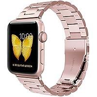 42mm Apple Watch Uhrarmband für Apple Watch 4 1 2 3 - Evershop Edelstahl Uhrenarmband Apple Watch Bands Handgelenk Band Ersatz Metall Schließe für iWatch alle Modelle,schwarz,Silber (Rosegold, 42mm)