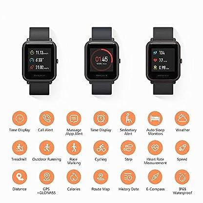 EdwayBuy Smartwatch, Amazfit Bip Relojes Deportivos con GPS Bluetooth IP68 a Prueba de Agua Pantalla Táctil Monitor de Frecuencia Cardíaca 45 Días Batería Ultra Larga Vida Versión Global Negro