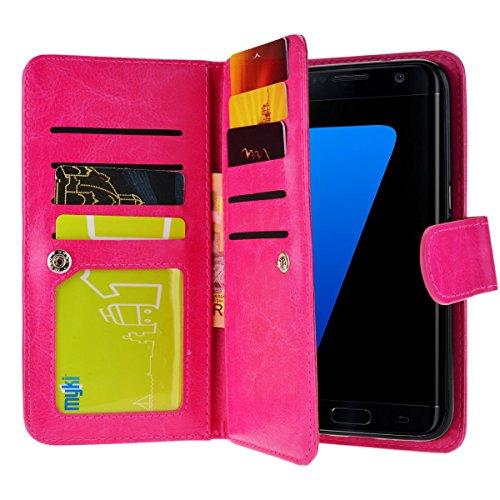 Custodia per Samsung Galaxy S7 Edge, SMARTLEGEND 3 in 1 Custodia in Pelle Supporto Stand e Porta Carte Integrati Portafoglio Flip Cover e Stylus Pen con Chiusura Magnetica per Samsung Galaxy S7 Edge - Rosa Rossa