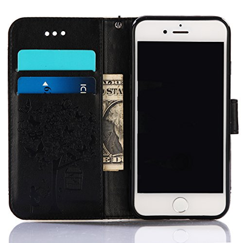 Flip Custodia per iPhone 7 Plus,Custodia in Pelle per iPhone 7 Plus,Leeook Creativo Wrist Strap Retr¨° Nero Blu Colore Contrasto Design Goffratura Fiore Albero Farfalla Uccello Ragazza Modello Stile d Albero Ragazza,Nero Marrone