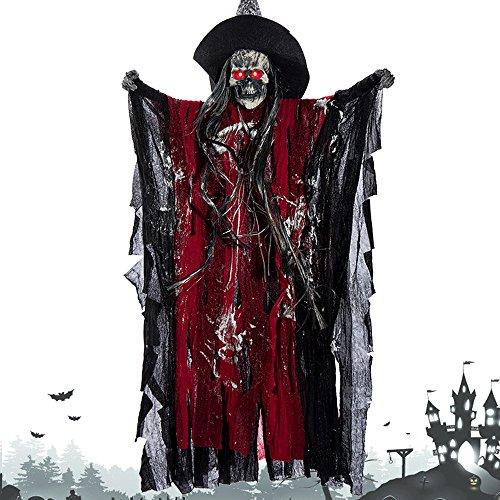 eko Gruselig Zombie Geist Gespenst Hängend Augen Glänzend Sound Gesteuerte für Halloweendeko Halloween Dekoration (Rot) ()